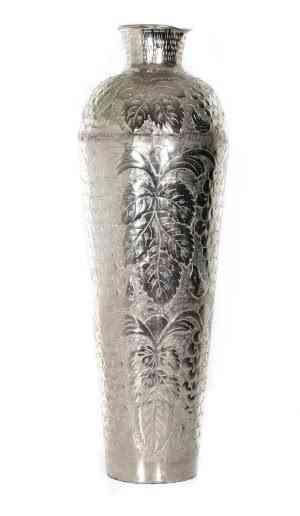 Metal Round Embossed Vase