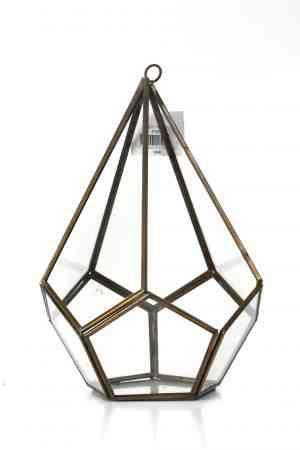 Gold Geometrical lantern 6″x10.5″