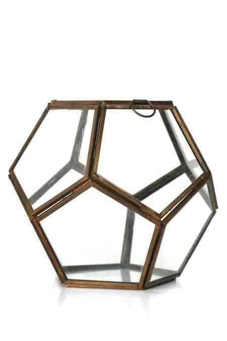 Gold Geometrical lantern 7″x7″X6″