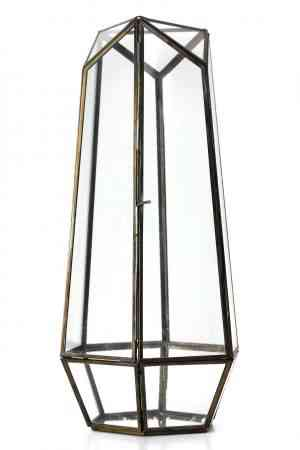 Gold Geometrical lantern 16.5″x7″