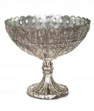 Royal Platinum glass bowl 10″x10″x9″
