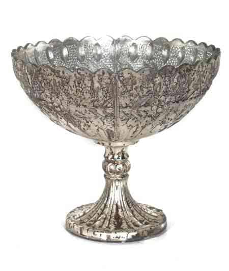 Royal Platinum glass bowl 10″x10″x9″