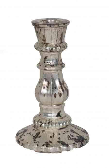 Royal Platinum Glass Pillar Candle Holders