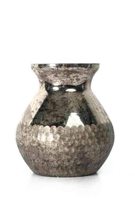 Silver Glass Honeycomb Money Bag Vase