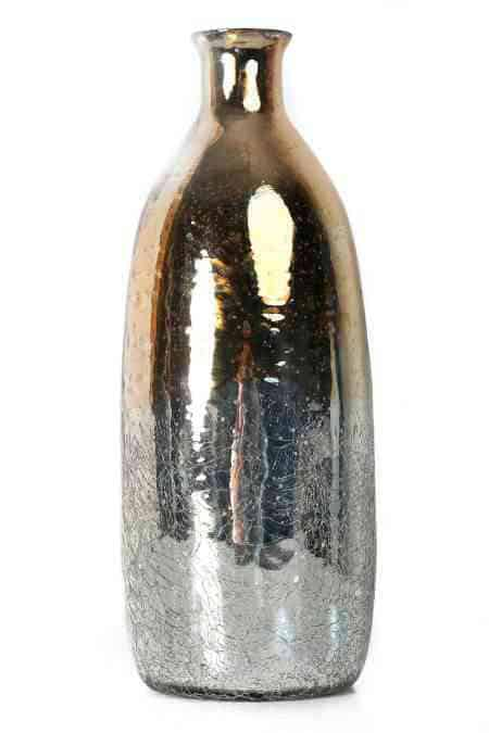Decorative Mercury Glass Bottle Vases