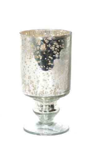 Glass Silver Floral Cut Votive