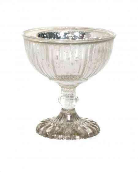 Decorative Mercury Glass Pedestal Bowl