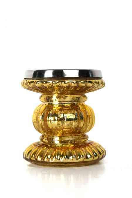 Mercury Glass Pillar Candle Holders 4 inches