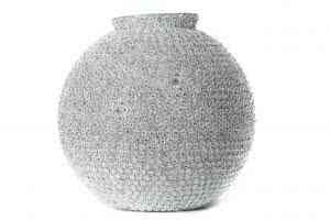 Glass Silver Floral Ball 16″