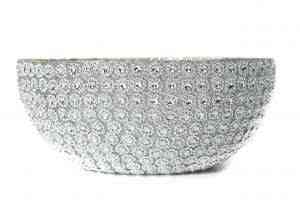 Glass Silver floral bowl 10″D