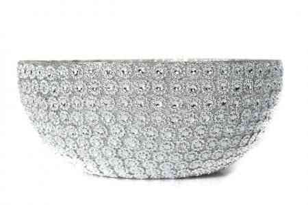 Glass Silver floral bowl 10″D