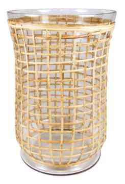 Cane & glass hurricane 13.5″x9.5″