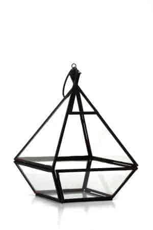 Iron & Glass geometrical lantern 9.5″X7″