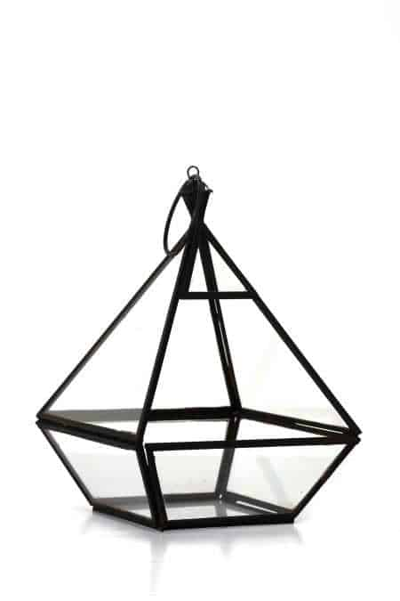 Iron & Glass geometrical lantern 9.5″X7″