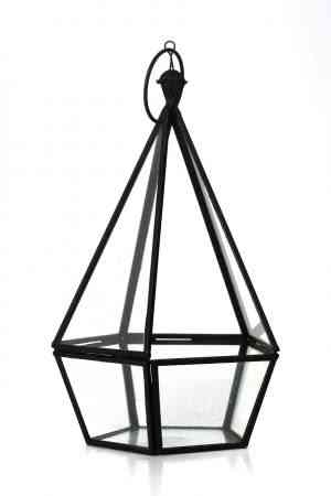 Iron & Glass geometrical lantern 10″X5.5″