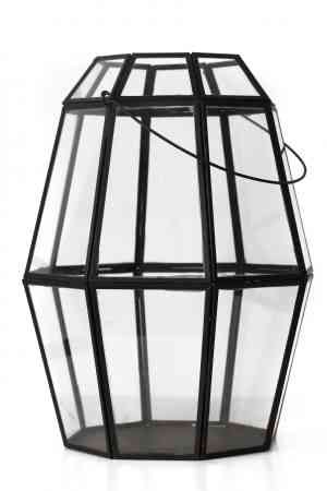 Iron & Glass geometrical lantern 14″X12″