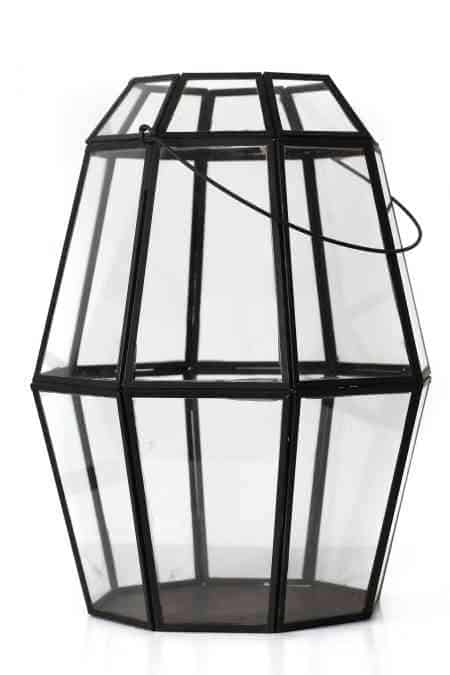 Iron & Glass geometrical lantern 14″X12″