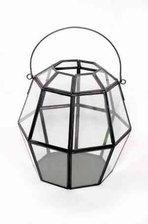 Iron & Glass geometrical lantern 6″X6″x4.25″