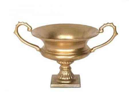 Gold urn w/ handle 12″x8″x7.25″