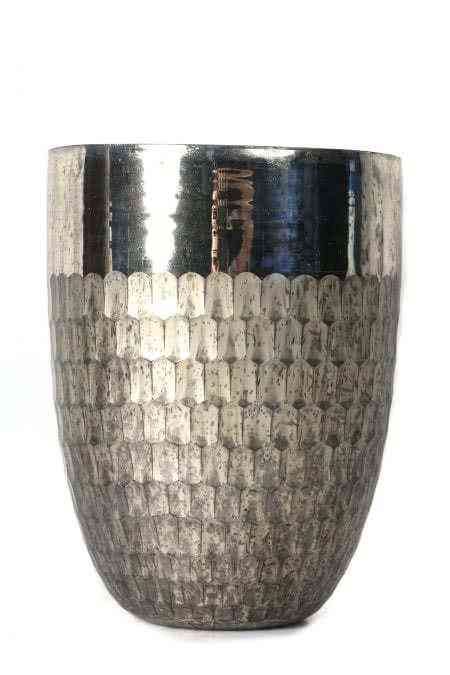 Honeycomb and Champaign Mercury Glass Vases