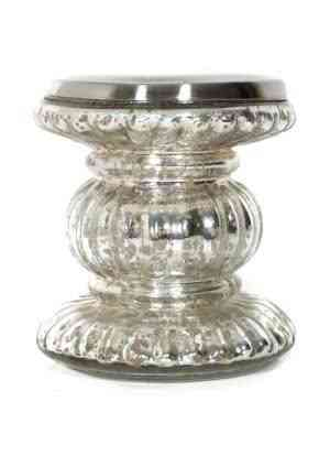 Mercury Glass Pillar Candle Holders 6.5 inches