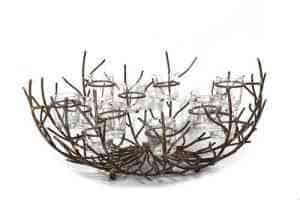12 votive twig bowl 19″ D x 7″