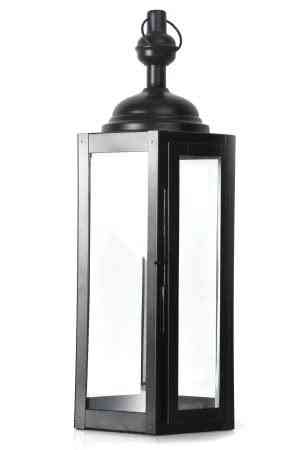 Hexagonal Metal and Glass Lanterns