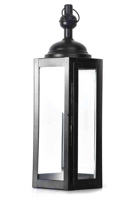 Hexagonal Metal and Glass Lanterns