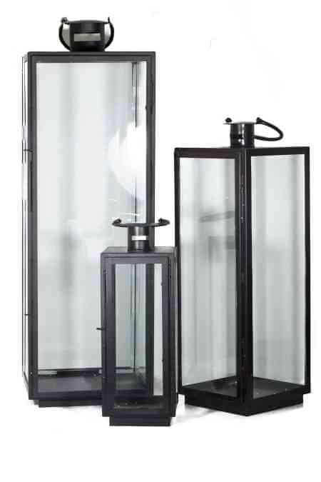 Square Lantern Black set/3 40″x13.5″-30″x8.5″-20″x7.5″