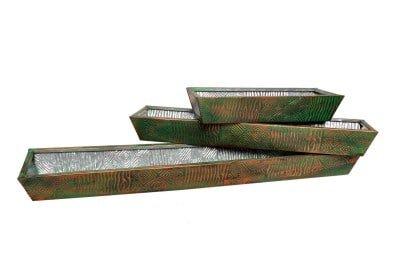 Glavanized iron Planters Set of 3