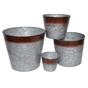 Galvanised Planter with Rustic Edge9x8 Set of 6