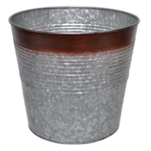 Galvanised Planter with Rustic Edge11.5×10 Set of 6